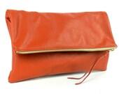 Orange Crush Rust Foldover Leather Clutch Handbag