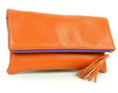 Orange Tangerine Fold Over Clutch with Purple Zipper and Tassel
