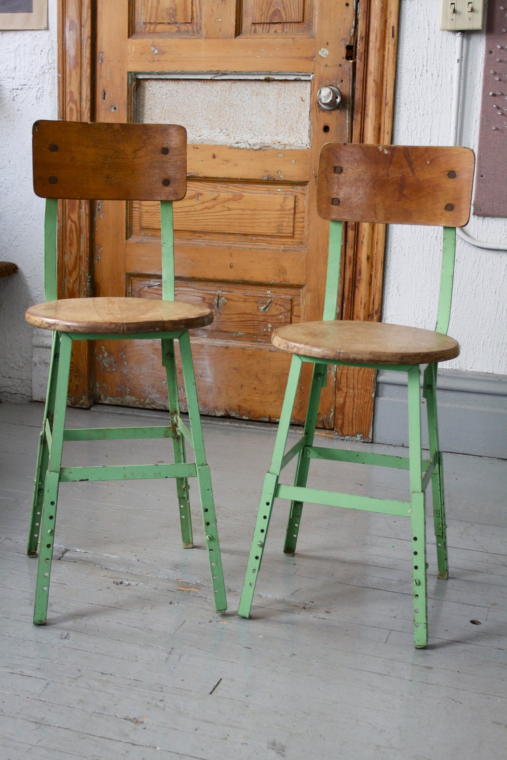 Pair Of Vintage Industrial Mint Green Adjustable Stools With