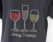 "Wine Glasses ""Group Therapy"" Black T-Shirt"