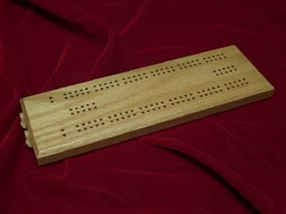 Cribbage Board  2 Player OAK made by disabled veteran - Price Reduced