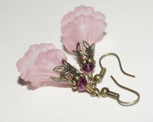Vintage Flower Earrings Lily Pink Earrings Copper Earrings