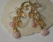Pink Peruvian Opal Earrings. Opal And 14K Gold Filled Earrings. Opal Earrings.