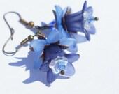 Blue Flower Earrings Chandelier Earrings. Dangle Earrings. Lily Blue Earrings