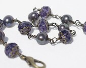Black Peacock Pearl and Amethyst Gem Cut Crystal. Wire Wrapped Bracelet. Gemstone Bracelet, Free Shipping.