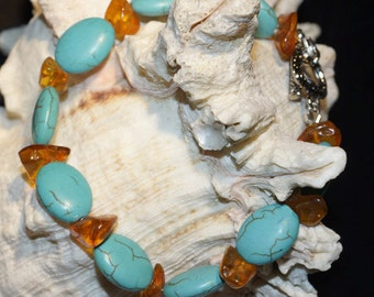 Turquoise And Amber Bracelet Turquoise and Amber Earrings