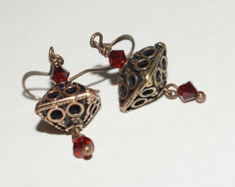 Copper Filigree Earrings /  Swarovski Crystal Red by Trendydeals