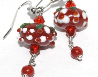 Red Coral Trendy Earrings/ Chandelier Red Earrings, Lampwork Earrings