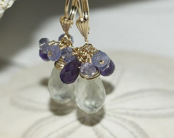Green Amethyst , Purple Amethyst Tanzanite Earrings. 14K Gold earrings. Chandelier Earrings.