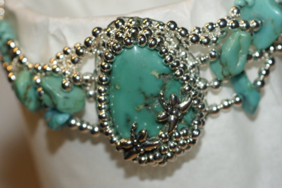 Turquoise Beaded Bracelet Turquoise Silver Cuff