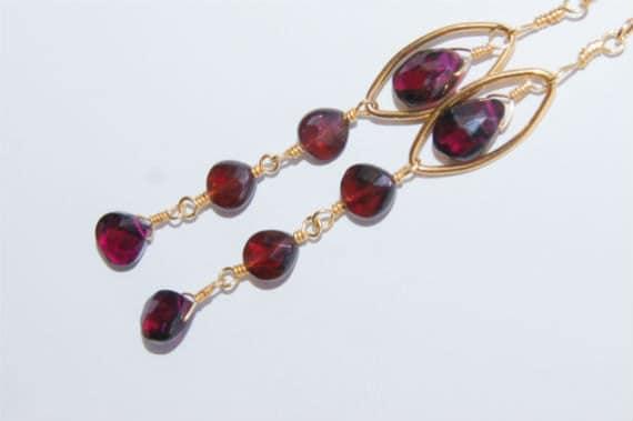 Chandelier Earrings Garnet Earrings. 14K Gold Long  Earrings Gemstone Jewelry - Red Garnet Earrings