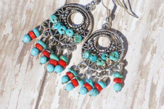 Ethnic Silver Filigree Earrings with Coral  and Turquoise