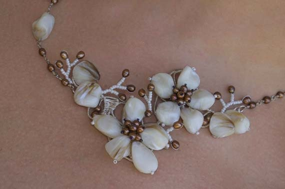 Statement Necklace Wire Flower Necklace .Pearl Flower Necklace. Gothic Necklace . Bridal Bride