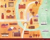 """Illustrated Milwaukee Map, 16"""" x 20"""", Digital Print"""