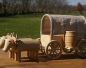 Wooden Ox Team and Covered Wagon