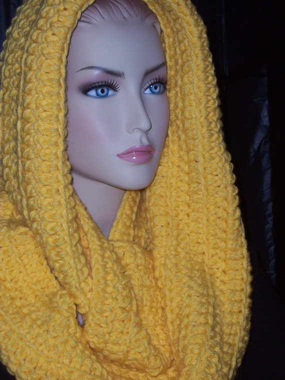 Yellow Infinity Loop  Scarf Crocheted  Extra Large Unisex .made with double yarns