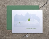 """Letterpress printed """"Home for the holidays"""" card"""