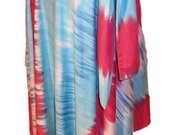 Summer Batik Wrap Skirt  Turqoise Fuschia and White Perfect to Dance or Hang out