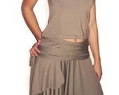Mocha Tshirt in Modal Matches Mocha Wrap Skirt