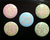"""1"""" Pins (or Magnets) Color Blindness Vision Test Patterns. 5 Button Set. Free Shipping. Eye See..."""