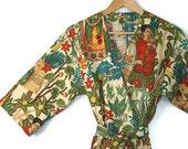 Kimono Robe. Robe. Dressing Gown. Kimono. Frida Kahlo. Small thru Plus Size Kimono Robes 2XL. Knee and Mid Calf.