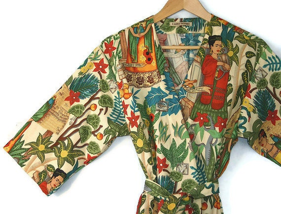 Mid Calf Kimono Robe. Kimono Robe. Dressing Gown. Bathrobe. Robe. Spa Robe. Frida Kahlo. Small thru 2XL