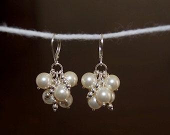 Swarovski Crystal Pearl Cluster Earrings