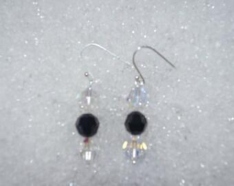 Swarovski Crystal AB and Jet earrings