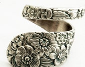 Antique Stieff Floral Sterling Silver Spoon Ring, Made in YOUR Size (1980)