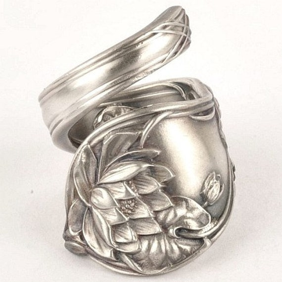 Unique Graceful Lotus Sterling Silver Spoon Ring, Handcrafted in YOUR Size (201)
