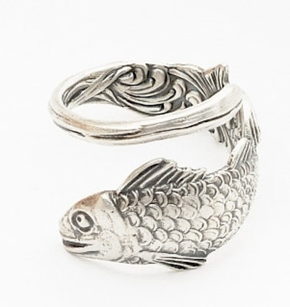 Unique Vintage Fish Souvenier Sterling Spoon Ring , Handcrafted in Your Size (412)