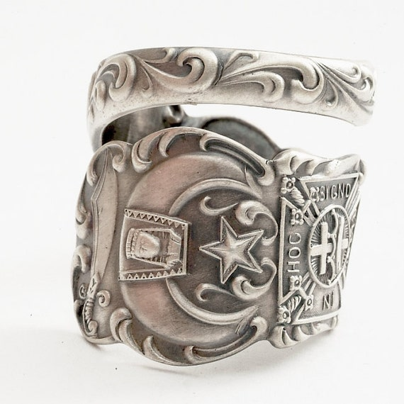 Rare Masonic Freemason Sterling Spoon Ring, Handcrafted in YOUR Size (773)