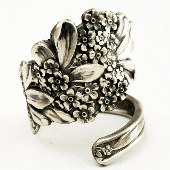 Spoon Ring Vintage Forget Me Not Floral Sterling Silver Ring, Handmade in Your Size (1238)