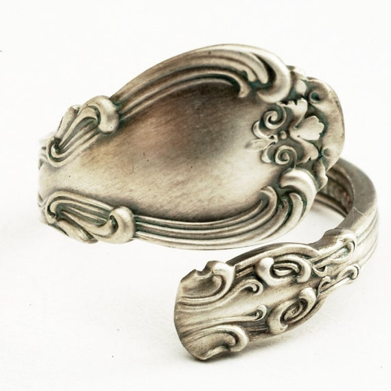 spoon ring unique floral scroll sterling by spoonier