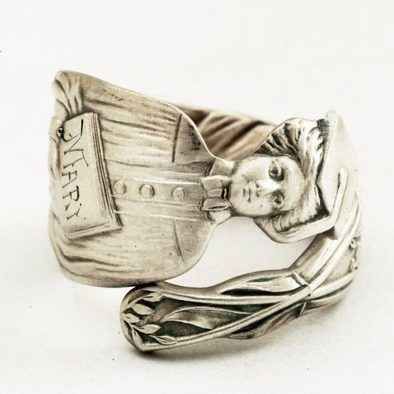 Spoon Ring for Graduation and Academia with Woman Graduate, Made in YOUR Size (1312)