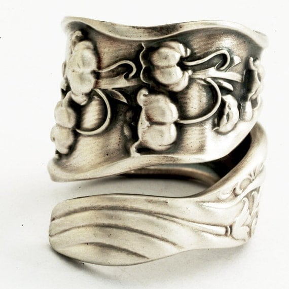 Spoon Ring Unique Lily of the Valley Art Nouveau Sterling Silver, Handcrafted in Your Size (1575)