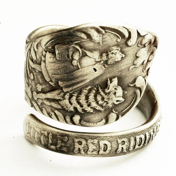 Little Red Riding Hood Sterling Silver Spoon Ring, Handcrafted in your size (1713)