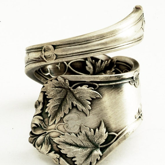 Victorian Maple Tree Sterling Silver Spoon Ring,  Made in YOUR Size (1763)