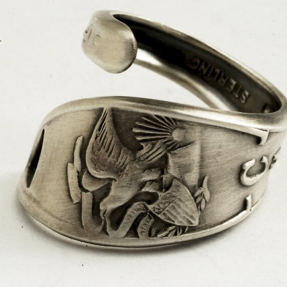 Spoon Ring Art Deco Souvenir Chicago Sterling Silver Ring, Handmade in your size (1858)
