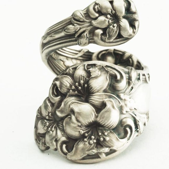 Spoon Ring Art Nouveau Orange Blossom Sterling Silver, Handmade in Your Size (1826)