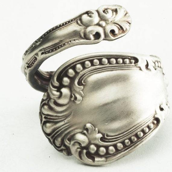 Ornate Florentine Victorian Sterling Silver Spoon Ring, Handmade to your size (2070)