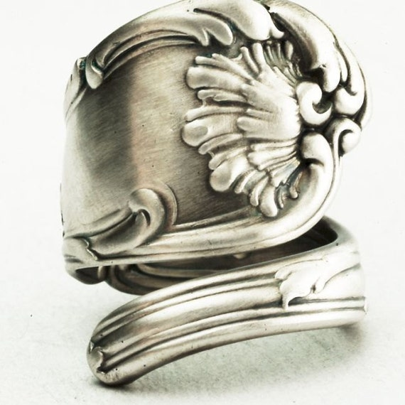 Spoon Ring Unique Victorian Organic Scroll Sterling Silver, Handmade in Your Size (2239)
