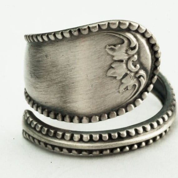 Spoon Ring Unique Victorian Motif Sterling Silver, Handmade in Your Size (2276)