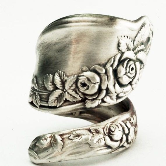 Vintage Mille Fleur Rose Floral Sterling Silver Spoon Ring, Handmade in Your Size (2279)