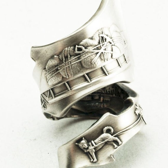 RESERVED for Zodwollop- Sterling Silver Spoon Ring Vintage Alaska Dogs with Sleigh Souvenir,  Handmade in Your Size (2201)