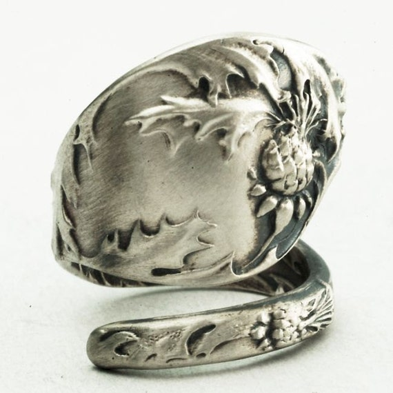 Spoon Ring Vintage Holly Leaves in Sterling Silver, Handcrafted in YOUR Size (2220)