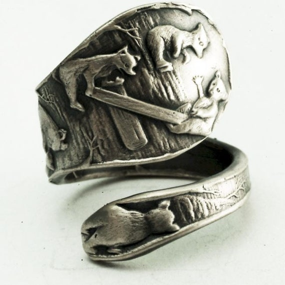 Spoon Ring with Playing Bears and Bear Cubs in Sterling Silver, Handmade in Your Size (2322)