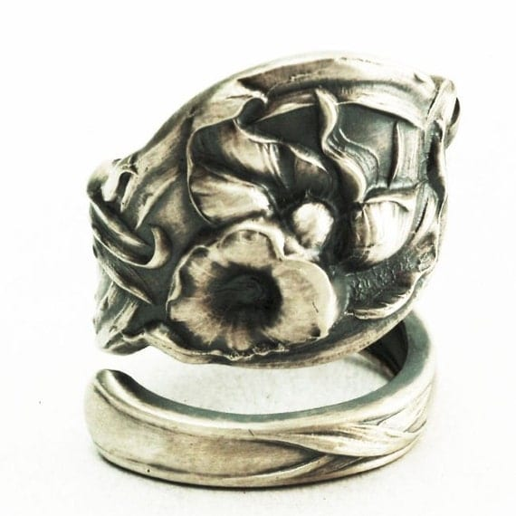 Spoon Ring Calla LilyAntique Sterling Silver Floral Art Nouveau Spoon Ring, Handcrafted in YOUR Size (2349)