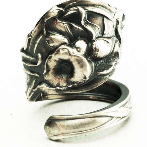 Spoon Ring Calla Lily Antique Sterling Silver Floral Art Nouveau Spoon Ring, Handcrafted in YOUR Size (2350)
