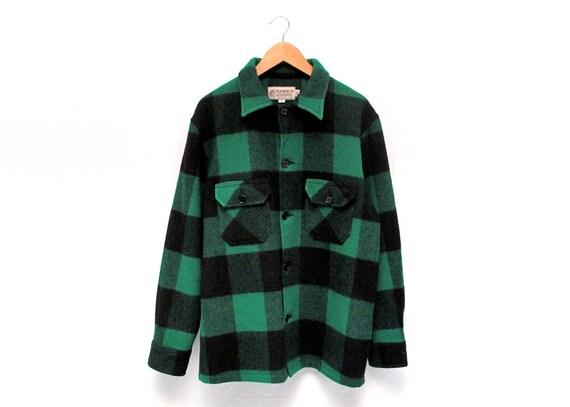 Vintage Bemidji Green & Black Checkered Wool Flannel Jacket